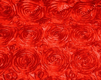Satin Rosette Red 52 Inch Fabric by the Yard - 1 yard