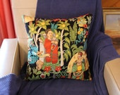 Mexican garden print cushion cover 45cm X 45cm 100% cotton hand made