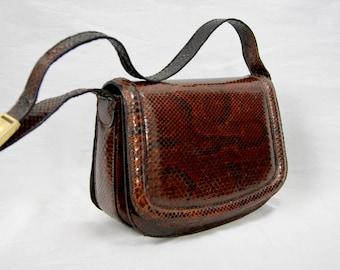 Exotic Leather Vintage 1970 Real Snakeskin Leather Sholuder Bag Handbag