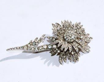 CHRISTIAN DIOR by Mitchel Maer Vintage 1950s Original Diamante Encrusted Sparkly Pin Brooch
