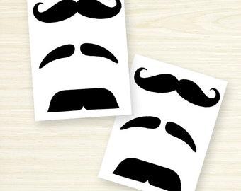 Temporary Tattoo - Finger Mustache Assorted / Assorted Fingerstache Set
