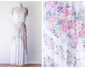 Romantic Floral Maxi Dress - White Vintage Maxi Gown with Girly Floral Print - Ethereal 1970's Gown - Size Small