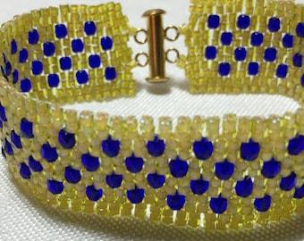 Yellow Blue Bracelet Yellow Bead Bracelet Bead Woven Bracelet Peyote Bead Bracelet Beadwork Bracelet Beaded Bracelet Seed Bead Bracelet