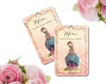 Merci Favor Tags, Marie Antoinette, Paris Bridal Shower Tags, French, Quincieñera Tags, Custom, Pink, Cottage Chic, Lingerie Tags, Set of 10
