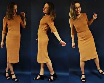 1940s /1950s Caramel Brown Knit Wiggle Dress