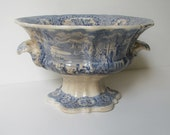 c.1850s Transferware Pottery Blue&White Large Antique Punch Bowl/Compote/Tureen/Elaborate Foreign Scenes/Camels/Minarets/For Use or Display