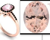 Custom 14k Rose Gold Skull Ring with Morganite Center Stone & Black Diamond Accents