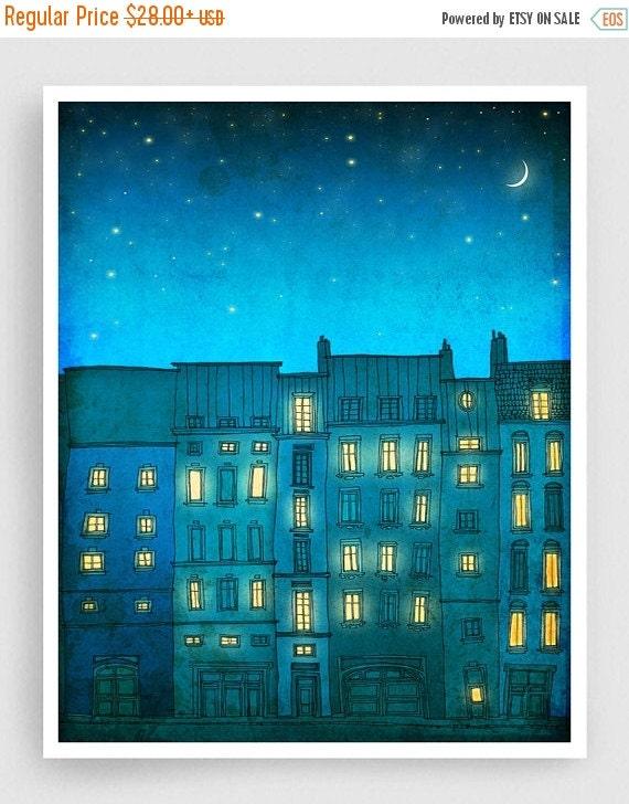 30% OFF SALE: You are not alone (vertical) - Paris illustration Art prints Paris poster Home decor Modern Wall decor Nursery Kids room art T