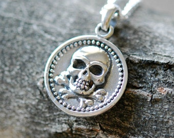 Skull necklace, sterling silver skull pendant, skull and crossbones, round silver pendant, pirate, goth, rockstar jewelry - doubloon