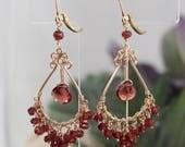 Gemstone Chandelier Earrings, Garnet Earrings, Red Garnets, Chandelier Earrings, Sterling Silver Chandlier, Red Earrings, Dangle Earrings