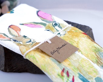 Rabbit Tea Towel, Watercolor Towel, Bunny Kitchen Linens, Easter Bunny, Hare Dishtowel, Hare Rabbit Watercolor Tea Towel