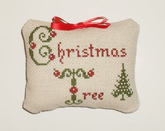 Completed Cross Stitch Primitive Tuck Christmas Decor Decorative Ornament Pillow Ready to Ship