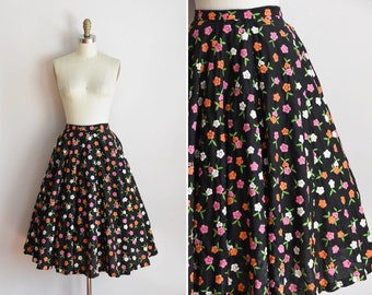 50s Modest Meadows skirt/ vintage 1950s embroidered skirt/ vintage dark floral full skirt