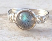 Valentines Day Sale Labradorite Wire Wrapped Ring, Labradorite Gemstone Ring, Sterling Silver Filled Ring, Any Size