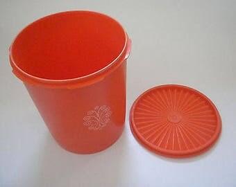 Vintage Tupperware Orange Canister Servalier Seal #807 Kitchen storage