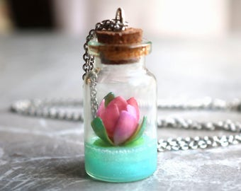 Lotus bottle necklace, Water lily necklace, birth flower of July, pink flower, polymer clay jewelry, glass vial, girlfriend gift, for her