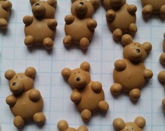 Royal icing teddy bears -- Edible handmade cupcake toppers cake decorations (12 pieces)