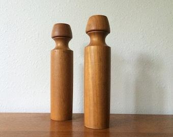 ON SALE Monumental Vintage Teak Salt & Pepper Set