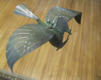 Copper Dove , Life Sized Tin Dove with Olive Leaf , Peace , Dove With Olive Leaf , Garden Sculpture