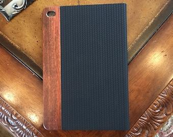 IPAD MINI 4 case, vintage looking hand polished exotic rosewood , black herringbone leather