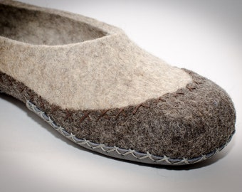 Eco friendly handmade felted slippers moccasin Apache in natural house shoes grey-brown color
