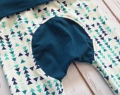 Maxaloones Grow With Me Pants Teal Triangles Baby Leggings