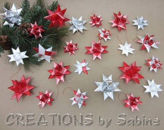 Set of 24 Christmas Ornaments Satin Ribbon Stars 3D & flat Stars Origami Red White Silver Moravian Advent Swedish / READY TO SHIP (120)