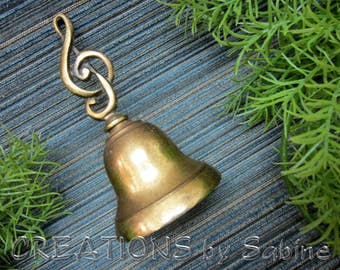 Brass Bell Treble Clef Music Musician Score Notes Symbol Paperweight Collectible Decor Gold Tone Metal Patina Vintage FREE SHIPPING (577)