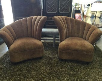 Pair of Glamorous Leopard Print Channel Tufted Curved Side Chairs on Sale