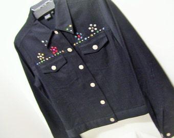 Black Denim, Jean Jacket, Embellished, Colored Stones, Bling, Carole Little  Size 6