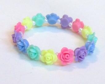 Fairy Wreath - Rainbow Rose Stretch Bracelet