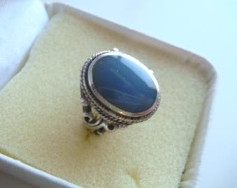 Vintage Silver Ring with Blue Stone