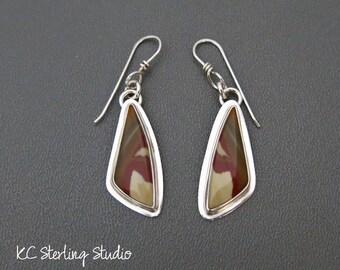 Owyhee jasper and sterling silver handmade dangle earrings - metalsmith silversmith