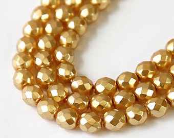 Gold Pearl Czech Glass Beads, 8mm Faceted Round - 25 pcs - e0486-8