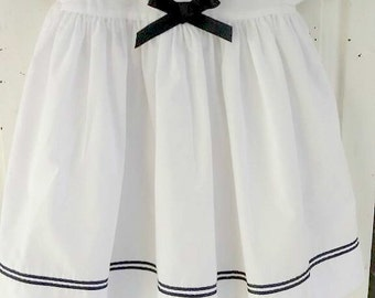 Sweet Sarah Louise England White Sailor Dress with Navy Trim baby clothes, baby dress 18 months  by herminas cottage