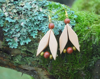 Juniper Birch Wood Flower Earrings, Nature Eco Friendly Flower Earrings, Woodland Rustic Boho Earrings, Wooden  Earrings, Gifts Under 10