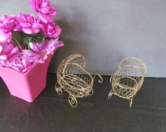 Set of 2 Vintage Gold Mini Wire Baby Carriage for Baby Shower Centerpiece, Decorations or Cake Topper