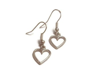 Silver Heart Charm Dangle Earrings / Open Heart Shape Design / Valentines, Mothers Day Jewelry Gifts for Her / Minimalist Style