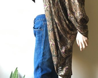Metallic paisley sheer jacket | vintage 80s blouse