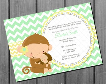 Green and Yellow Chevron  Monkey Baby Shower Party Invitation and FREE Thank You Card Printable DIY