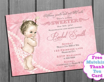 Pink Ribbon Pearl Baby Shower Invitation FREE Thank You Card - Vintage Baby Shower Invite -  Pink Baby Girl Shower Invitation - printable