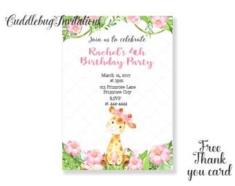 Girl Giraffe Birthday Invitation | Pink Girl Birthday Invitation | Jungle Birthday Invitation | Girl Birthday Invitation Printable