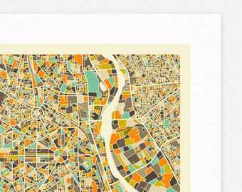 NEW DELHI MAP (Giclée Fine Art Print, Photographic Print or Poster Print) by Jazzberry Blue