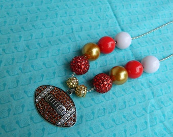 "Red and Gold Football 24"" Chunky Ball Bead Necklace *Ready to Ship, photo prop, womans"