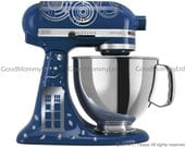 "Dr. WHO Inspired ""Time Lord/Souffle' Girl"" KitchenAid Stand Mixer Decal Kit for Whovian Bakers. With Gallifreyan & Tardis"