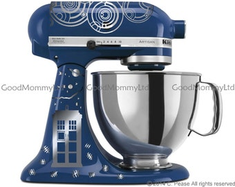 """Dr. WHO Inspired """"Time Lord/Souffle' Girl"""" KitchenAid Stand Mixer Decal Kit for Whovian Bakers. With Gallifreyan & Tardis"""