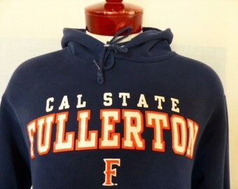 Go CSUF Titans vintage 90's Cal State University Fullerton NCAA navy blue fleece graphic hoodie sweatshirt orange white logo print large