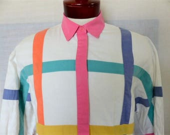 vintage 80's Together multi color rainbow pastel window pane pattern white long sleeve collar shirt womens blouse button up top missy small