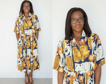 1980s Printed Day Dress