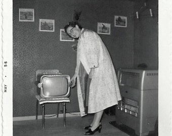 Old Photo Woman and Tv on Chair wearing Coat Glasses 1950s Photograph Snapshot vintage